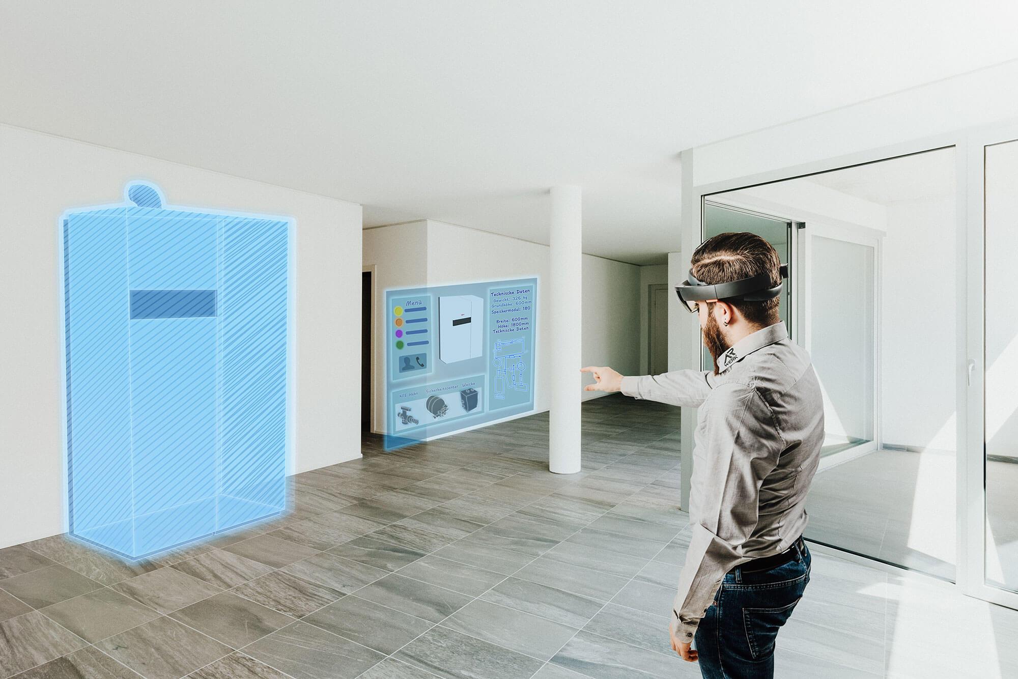 Projekterfasser Plant Heizsystem mit Hilfe einer Augmented Reality Brille